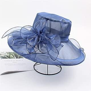 ZWHMZ Organza Visor Female Korean Version of The Flower Elegant Casual Big Sun hat Wild Resort Collapsible Cool hat (Color : Navy, Size : Adjustable)