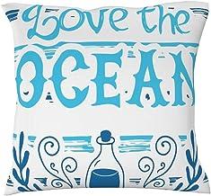 WJunglezhuang Funda de almohada de algodón Love the ocean fundas de almohada para sofá decoración al aire libre, algodón, Blanco, 18 x 18