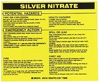 Brady 93730 Vinyl Hazardous Material Label Black On Yellow 3 3/4 Height x 4 1/2 Width Legend Silver Nitrate (25 Labels per Package) [並行輸入品]