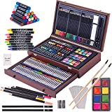 143 Piece Deluxe Art Set, Art Supplies in Portable Wooden Case-Painting & Drawing Kit with Crayons, Oil Pastels, Colored Pencils, Sketch Pencils, Paint Brush,Sharpener- Pro Art Kit,Painting Supply