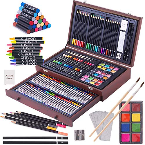 143 Piece Deluxe Art Set, Paint Set in Portable Wooden Case?Professional Art Kit?Art Supplies for Adults?Teens and Artist? Painting, Drawing & Art Supplies