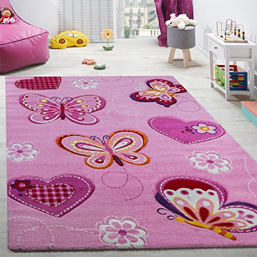 Paco Home Kinderzimmer Teppich Kinderteppich Schmetterling Motive Mit Konturenschnitt Pink, Grösse:120x170 cm