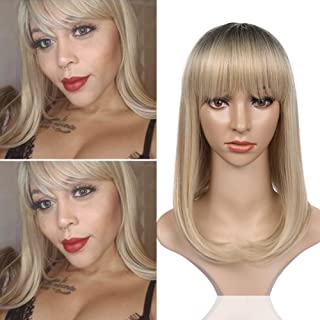 WIGNEE Ombre Wigs Short Bob Straight Wig Black&Gray To Ash Blonde Heat Resistant Synthetic Hair Full Wig with Bang for Women Girls Wig