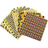 Egurs 10 Stück Sonnenblumen Muster Patchwork Stoffe Paket