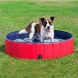 Dorit Piscina plegable para perros, piscina de verano para mascotas, PVC, antideslizante, resistente, piscina para niños, jardín, 80 x 30 cm, color rojo