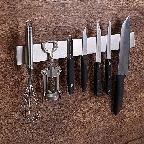 Virklyee Portacoltelli Magnetico salvaspazio da 40 cm Barra Magnetica per coltelli Tenuta Extra Forte e Montaggio Facile(16 Inches)