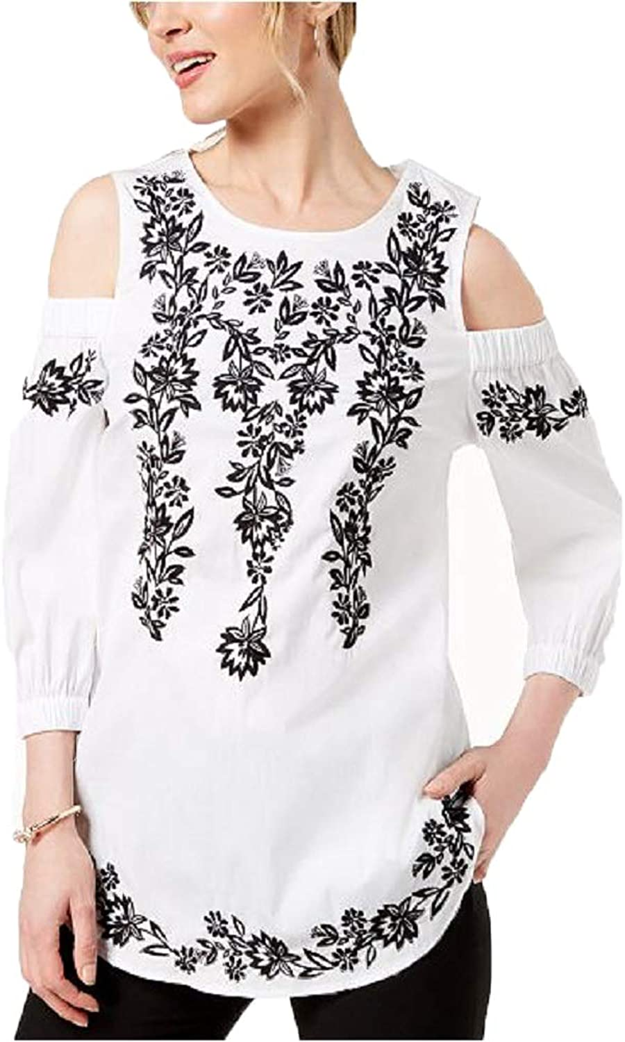 Charter Club Petite Embroidered ColdShoulder Top