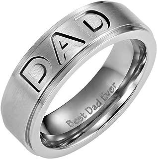 Mens Titanium DAD Ring Engraved Best Dad Ever