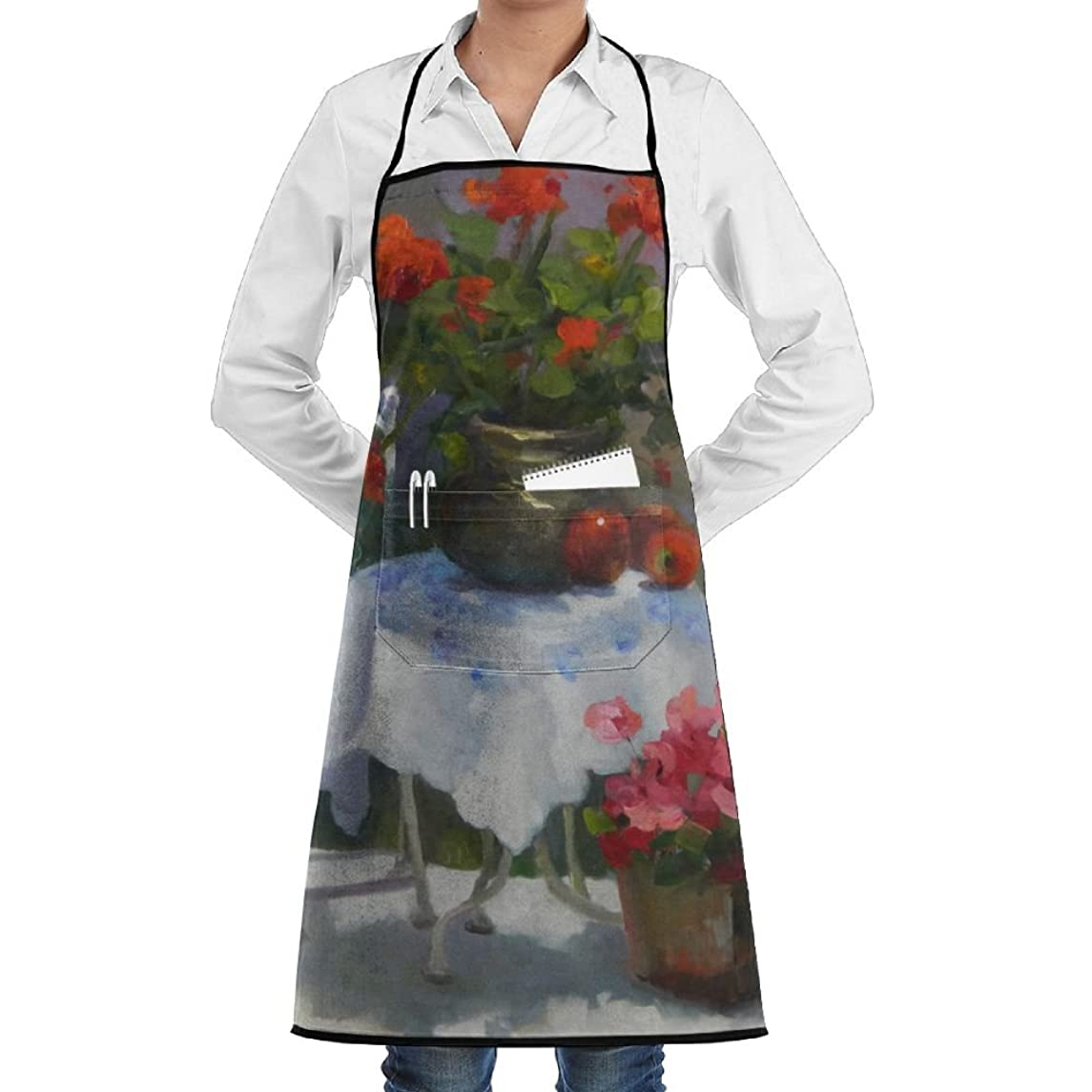Novelty Red Geraniums Painting Kitchen Chef Apron With Big Pockets - Chef Apron For Cooking,Baking,Crafting,Gardening And BBQ