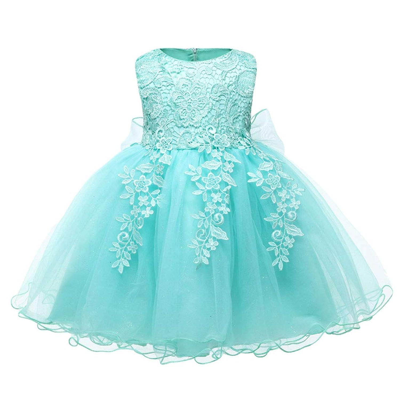 Mornyray 子供ドレス 洋服 フォーマル 女の子 無袖 花柄 レース チュール 蝶結びリボン付き 春秋 size 12 (ライトグリーン)