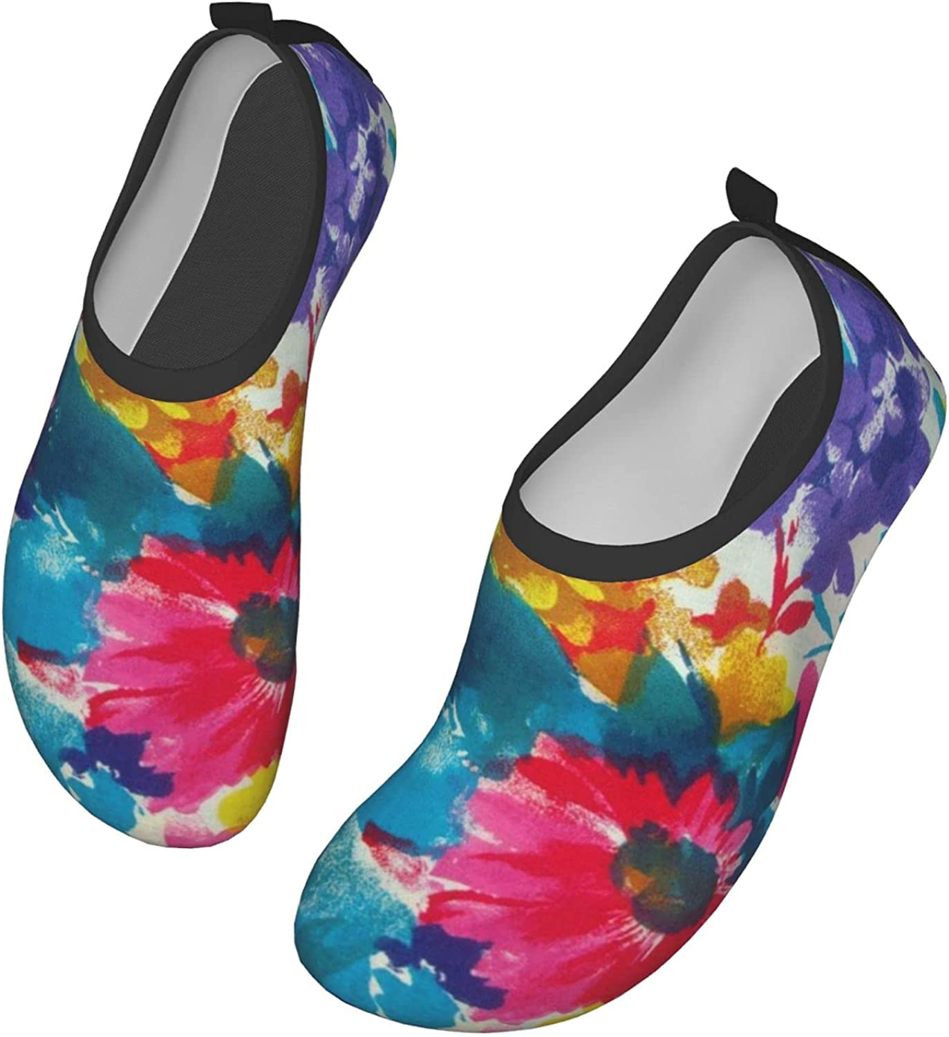 Water Shoes Women's Men's Colorful Ink and wash Flowers Barefoot