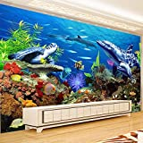 TIANZXS Papel Tapiz Mural no Tejido 3D para decoración de habitación de niños Dibujos Animados Mundo Submarino Acuario TV Papel de Pared de Fondo -350X245cm