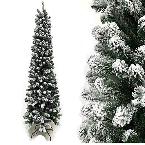 Rotex Albero di Natale Innevato Slim Realistico e Molto Folto Apertura Ad Ombrello, Salvaspazio (180 cm)