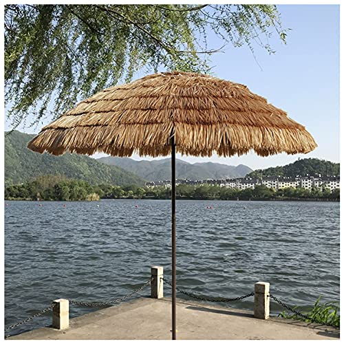 WUKALA Hawaii Stroh Sonnenschirm 2m,Neigung 45° Runder Strandschirm Wasserdichter Gartenschirm Strandschirm für Lawn Pool Backyard Garden Parasol