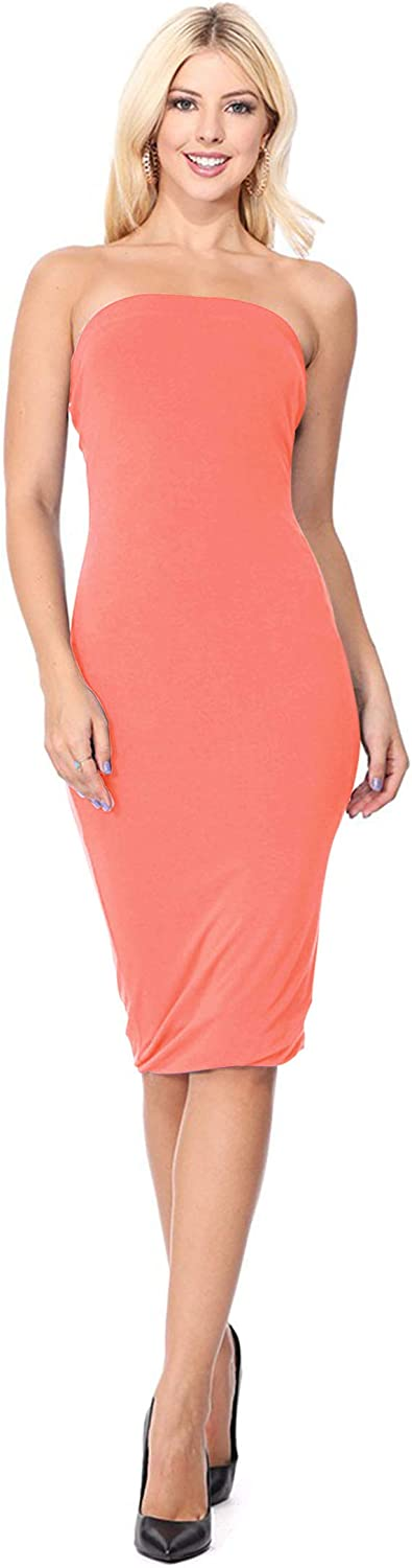 Women's Solid Casual Tube Top Slim Skinny Body-Con Fit Midi Dress/Made in USA