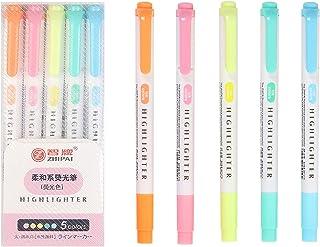5 ألوان قلم تحديد برأس مزدوج وأقلام تحديد واسعة وأزميل دقيقة وطلاب المدارس والمكاتب والمستلزمات المنزلية