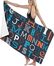 "Alphabet Bath Towel 80"""" X 130"""" Soft Absorbent for Swimming Pool Bathroom Yoga Pilates Picnic Blanket Beach Towels"