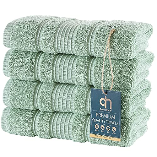 Qute Home 4-Piece Hand Towels Set, 100% Turkish Cotton Premium Quality Towels for Bathroom, Quick Dry Soft and Absorbent Turkish Towel Perfect for Daily Use, Set Includes 4 Hand Towels (Green)