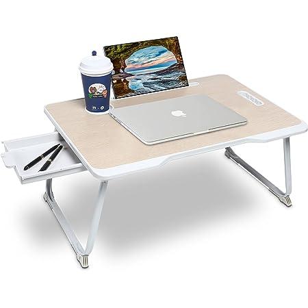 Astory Bureau pour ordinateur portable avec tiroir, plateau pour ordinateur portable avec poignée pratique intégrée et pieds pliants et fente pour gobelet pour lit / canapé / sol (beige)
