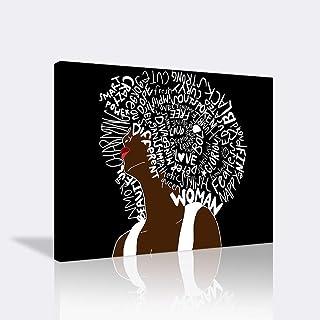 African Wall Art Black and White Wall Art African American Women Wall Decor African Letter Art Hair Canvas Artwork Hippie ...