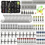 160pcs/box Fishing Accessories kit with Tackle Box,Including Fishing Swivels Snaps, Bullet Bass Casting Sinker Weights, Fishing Line Beads,Jig Hooks