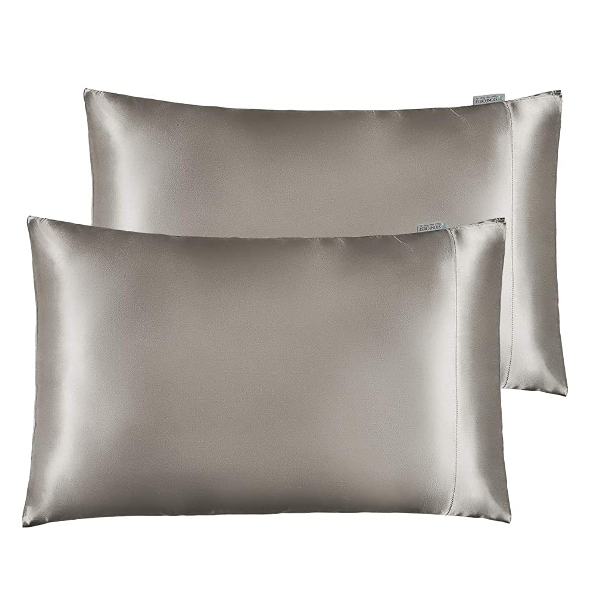 "STONECREST Classic Home Decor, Inc Silky Satin Pillowcase for Hair and Skin Care, Soft Breathable Queen Size 2 Pillow Shams (20'' x 30"") (Silver Grey)"