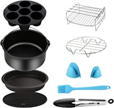 Air Fryer Accessories 9PCS for Gowise Gourmia Cozyna Ninja Air Fryer, Fit all 3.7QT - 5.8QT Power Deep Hot Air Fryer with 7 Inch Cake Barrel, Pizza Pan, Cupcake Pan, Oven Mitts, Skewer Rack,