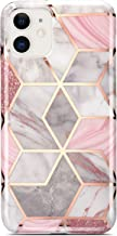 Coolwee iPhone 11 Case Marble Slim Fit Bling Glitter Sparkle Bumper Case Foil Stripe Thin Cute Design Glossy Finish Soft TPU Girls Women Protective Cover for Apple iPhone 11 6.1 inch Rose Gold
