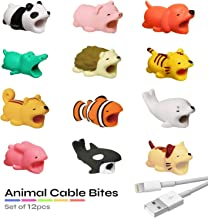 LoveAndCables Animal Cable Bites - Cute Cable Protector, Compatible with iPhone, Samsung, and Android Charger - Biter Character Nibblers for Cellphone, Tablet Power Wire - 12 Novelty Chompy Critters b