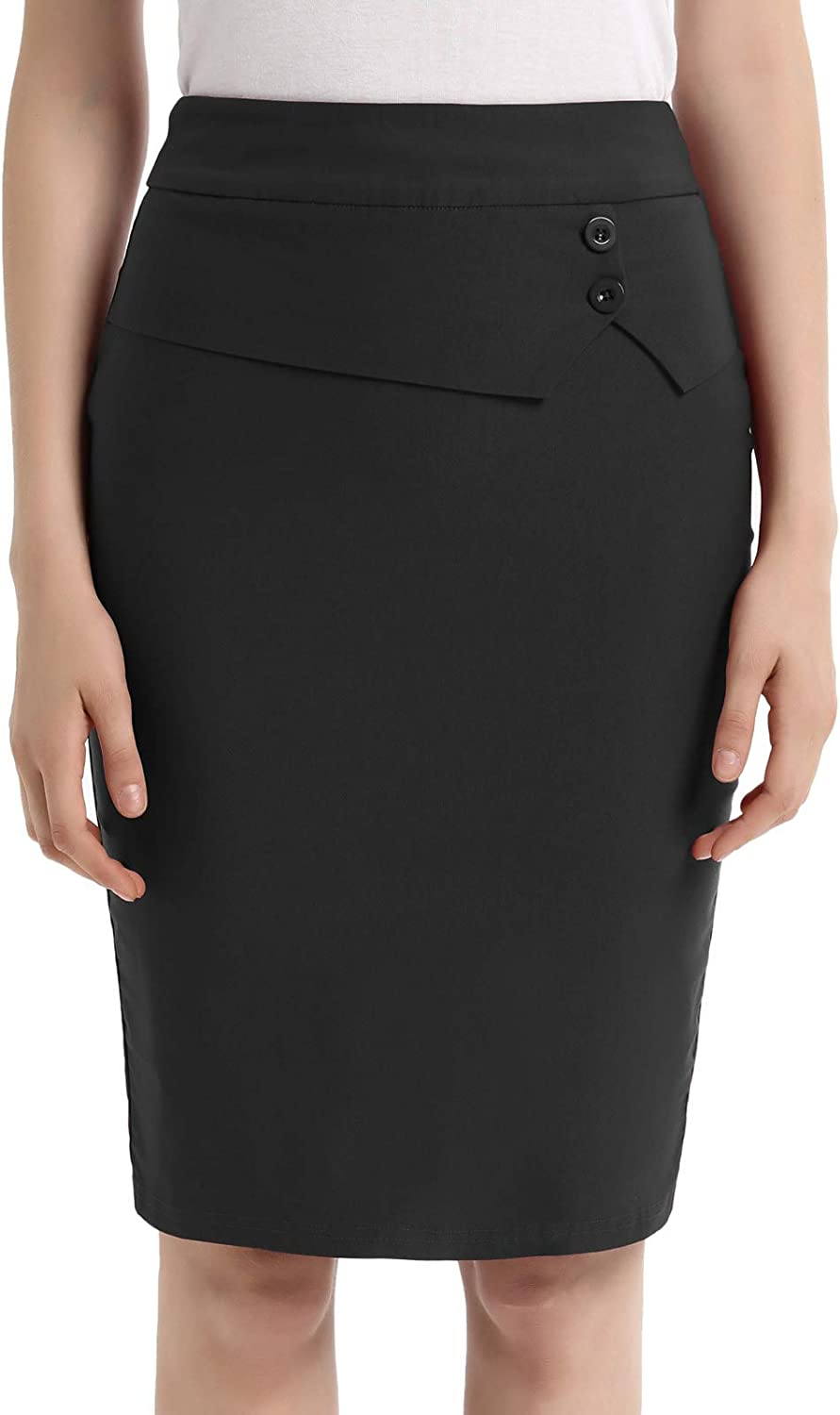 GRACE KARIN Women's Elastic Waist Stretch Bodycon Midi Wear to Work Pencil Skirt