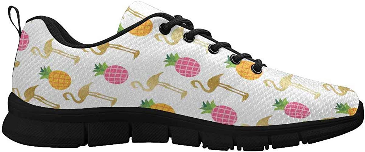 INTERESTPRINT Pineapple Flamingo Women's Athletic Walking Shoes Breathe Comfort Mesh