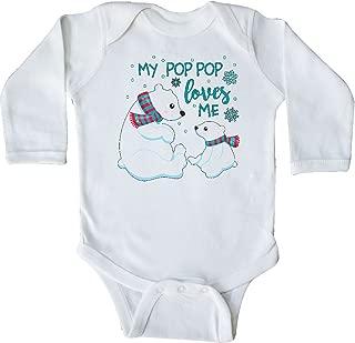 My Pop Pop Loves Me- Cute Polar Bears Long Sleeve Creeper