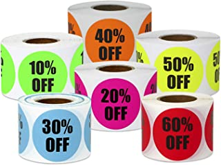 1200 Labels - 10% Off to 60% Off Sticker Bundle for Yard Garage Sale Retail Store Clearance (1.5 Inch, Green - 6 Rolls)
