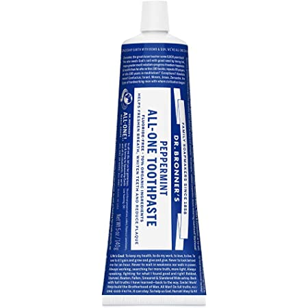 Dr. Bronner's - All-One Toothpaste (Peppermint, 5 ounce) - 70% Organic Ingredients, Natural and Effective, Fluoride-Free, SLS-Free, Helps Freshen Breath, Reduce Plaque, Whiten Teeth, Vegan