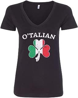 Women's O'Talian Italian Irish Shamrock V-Neck T-Shirt
