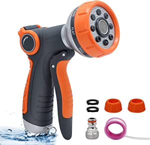 TCBWFY Hose Sprayer Nozzle,Water Hose Nozzle Sprayer 8 Spray Patterns,Garden Hose Nozzle No Leaking,with Quick Connect Adapter Set for Watering Lawns,Garden,Cleaning Pet Car Washing High Pressure
