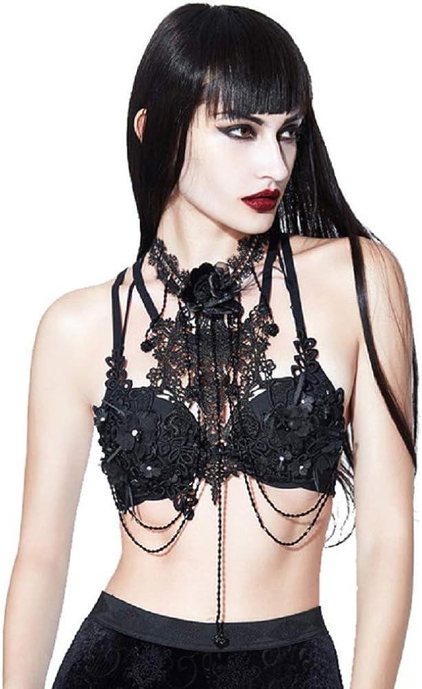 Sexy Lady Vest Black Rose Lace Short Vests Vintage Gothic Accessories Bandage Hollow Out Vests