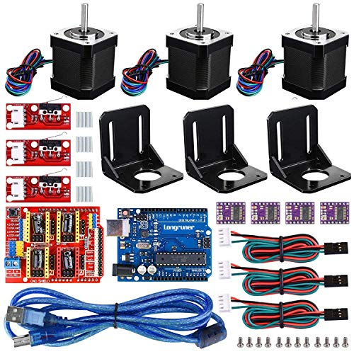 3D Printer CNC Controller Kit with for ArduinoIDE, Longruner GRBL CNC Shield Board+RAMPS 1.4 Mechanical Switch Endstop DRV8825 A4988 Stepper Motor Driver Nema 17 Stepper Motor LKB02