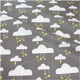 JIWEIER Nuages imprimés bébé Coton Sergé Tissu au mètre Bricolage Couture Quilt Scrapbooking Tissu Matériel for Needlewo...