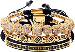 MAGIC FISH Imperial Crown King Mens Bracelet Pave CZ ,Gold Bracelets for Men Luxury Charm Fashion Cuff Bangle Crown Birthd...