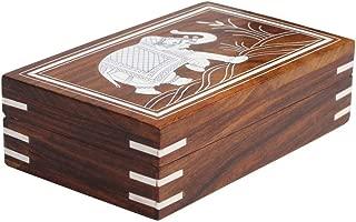 Benzara BM113369 Handmade Mango Wood Jewelry Box With Elephant Design, Brown