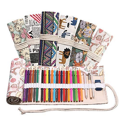 ACHICOO 12/24/36/48/72 Löcher Rolle Federmäppchen Leinwand Stifttasche für Mädchen Jungen Schreibwaren Nummernschild 72 Löcher