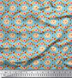 Soimoi Blau Baumwoll-Popeline Stoff Kranz, Blättern