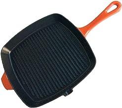 LJBH Pan, Frying Pan, Cast Iron Striped Square Steak Frying Pan, 10.4 Inch Brown Ergonomic handle design, comfortable grip...