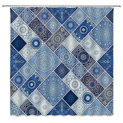 Boho-Duschvorhang, blaues Mandala-Blumenmuster, Patchwork, geometrisches Karomuster, indischer Ethno-Stamm, Paisleymuster, Vintage-Blume, Hippie-Kunst, Badezimmer-Dekoration mit Haken, 183 x cm (B H)
