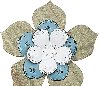 Amazon Com Stratton Home Decor White Metal Wall Flowers Set Of 3 Home Kitchen