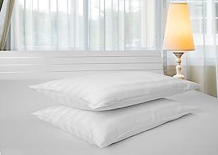 Hotel Linen Standard Pillowcase 2pc Set, 100% Cotton 250Tc Sateen 1 Inch Stripe, Size: 50x75cm, White