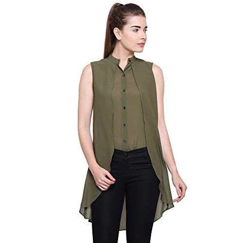 ea02ef312a0 POISON IVY Women s Casual Chiffon Layered Sleeveless Elegant High-Low Top