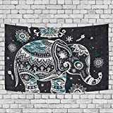 Baofu Skull Tapestry Wall Hanging Tapestries Happy Halloween Art Funny Skeleton Hippie Psychedelic Vintage Polyester Carpet Decorative for Living Room Bedroom 60x40inch (60x40inch, elephent)