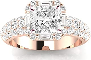1.5 Carat GIA Certified Cushion-Cut Designer Popular Halo Style Baguette and Pave Set Round Diamond Engagement Ring with a 0.75 Ct D-E VS1-VS2 Center.